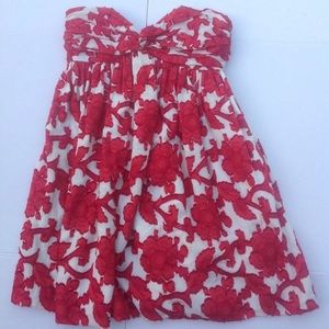 Milly of New York white and red strapless dress